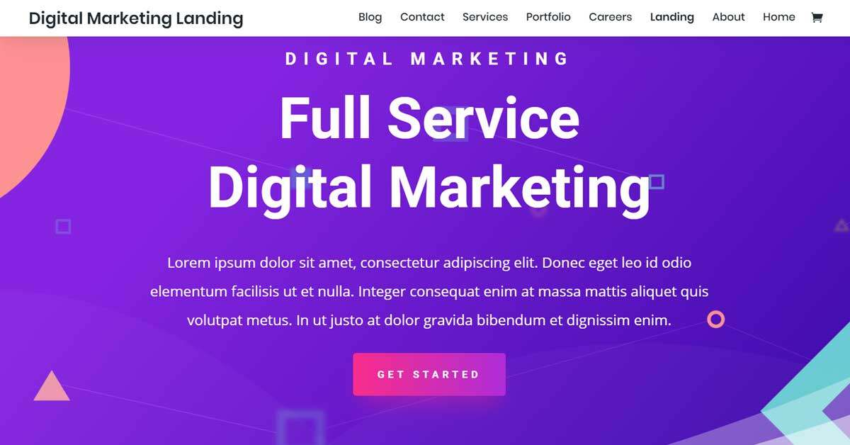 Online marketing website template