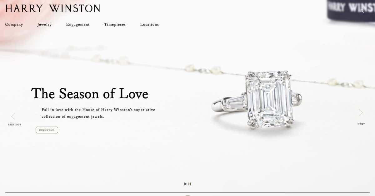 Harry Winston Jewelry Website Example