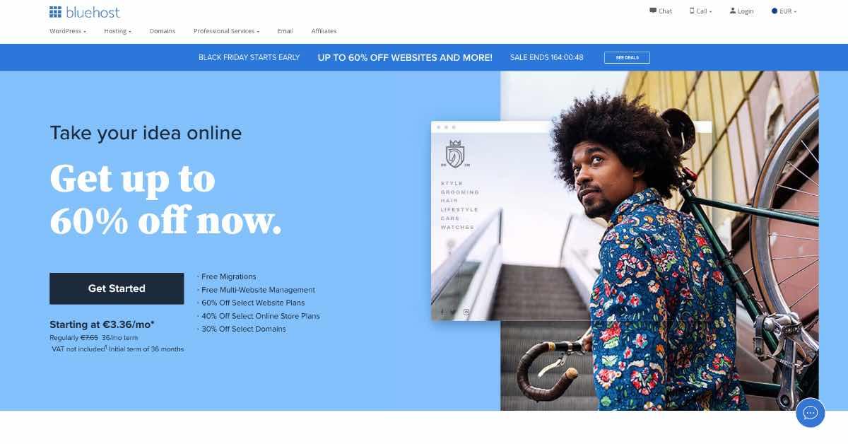 Bluehost Startup Website Example Screenshot