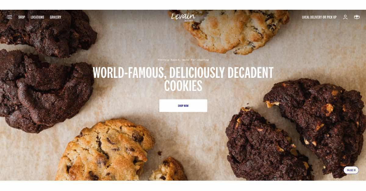 Levain Bakery Website Examples